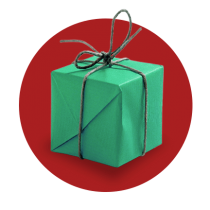 A Christmas present wrapped in green paper and tied with thin grey twine against a vibrant red gradient circle.