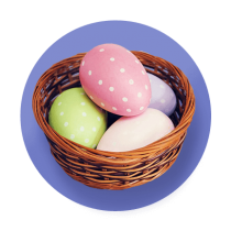 A wicker basket filled with pastel green, pink, purple, and yellow polka dot dye eggs against a purple gradient circle.