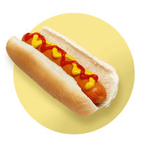 A hot dog topped with ketchup and mustard against a vibrant yellow gradient circle.
