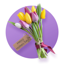 "A bouquet of tulips wrapped in ribbon and twine with a card attached that reads ""Happy Mother's Day"" against a light purple gradient circle."