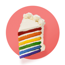 A rainbow cake with six layers and white buttercream covering the cake and between each layer against a pink gradient circle.