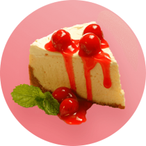 A thick slice of cheesecake topped with cherry sauce and whole cherries in front of a pink circle.