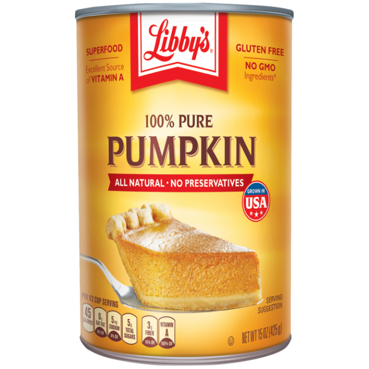 Front view photograph of an orange and yellow can of Libby's 100% Pure Pumpkin. It has the Libby's name and red and white logo above the product name and a slice of pumpkin pie on a silver serving spatula.