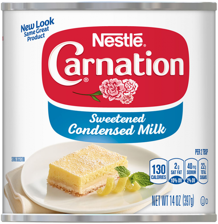 Front view of photograph of a can of Sweetened Condensed Milk in the colors of white, red, and blue. It has the Carnation name and flower logo on it, and an image of a lemon square on a plate with mint sprigs and a lemon twist.