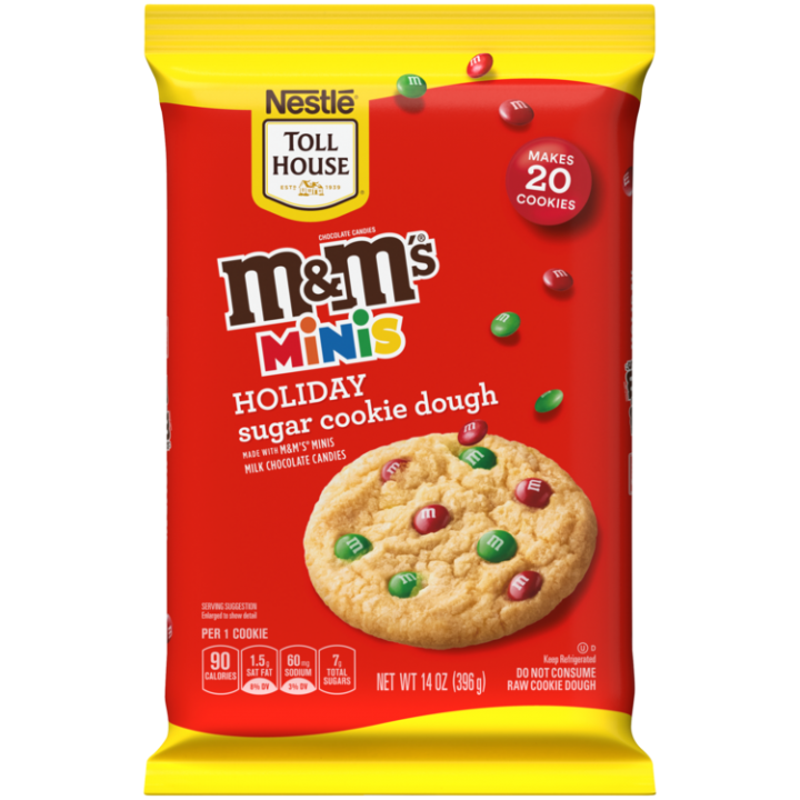 M M S Minis Holiday Cookie Dough Break Aparts Nestle Toll House