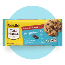 A package of Semi-Sweet Allergen Free Morsels on a light blue circle.