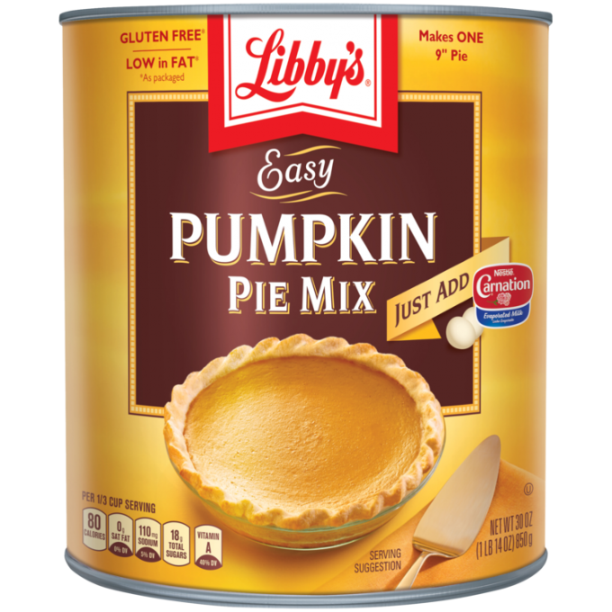 Front view photograph of an orange and brown can of Libby's Easy Pumpkin Pie Mix. It has the Libby's name and red and white logo above a brown box displaying the product name in white and a whole pumpkin pie beside a gold serving spatula.
