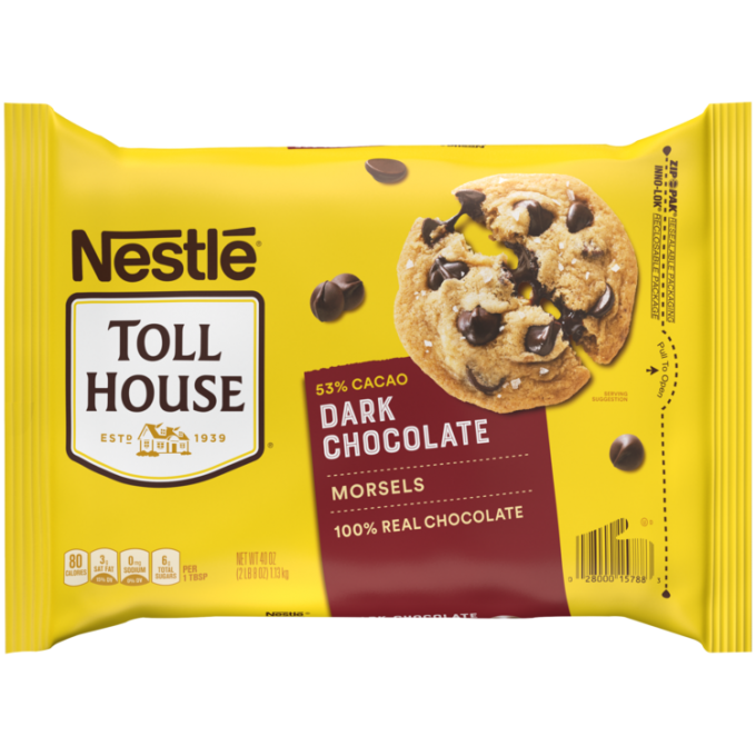 A yellow package of dark chocolate morsels with a maroon label beside the NESTLÉ® TOLL HOUSE® logo and a melty chocolate chip cookie.