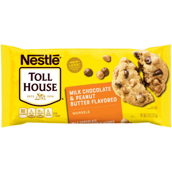 A yellow package of peanut butter flavored & milk chocolate morsels with an orange label beside the NESTLÉ® TOLL HOUSE® logo and a melty peanut butter and chocolate chip cookie.