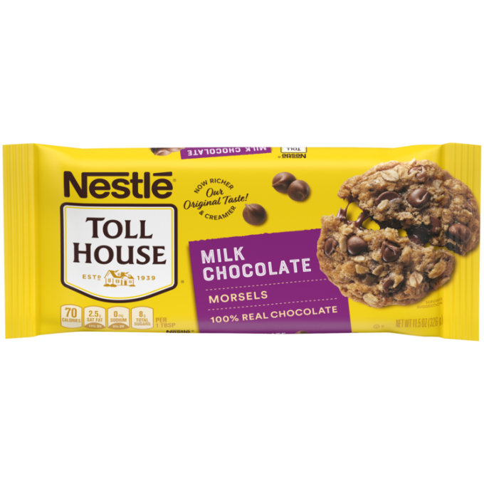 A yellow package of milk chocolate morsels with a purple label beside the NESTLÉ® TOLL HOUSE® logo and a melty chocolate chip oatmeal cookie.