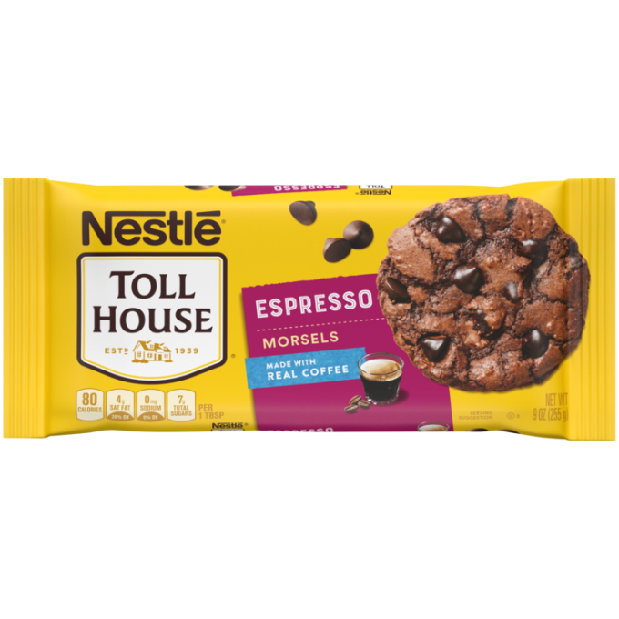 A yellow package of espresso morsels with a purple label beside the NESTLÉ® TOLL HOUSE® logo, a cup of espresso, and a chocolate cookie with espresso morsels.