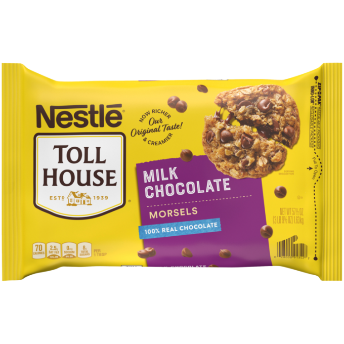A yellow package of milk chocolate morsels with a purple label beside the NESTLÉ® TOLL HOUSE® logo and a melty oatmeal chocolate chip cookie.