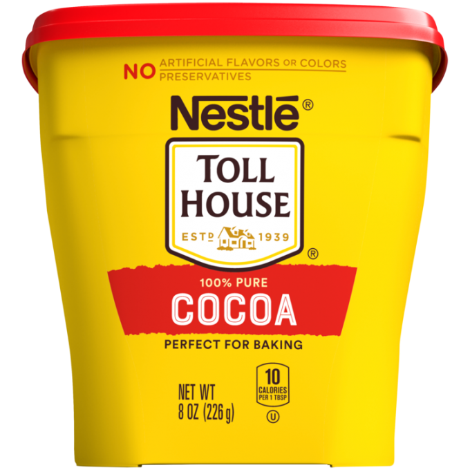 "A yellow container with a red lid featuring the NESTLÉ® TOLL HOUSE® logo above a red label that reads ""cocoa."""
