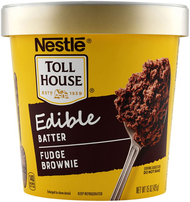 "A yellow tub of edible batter with a gold lid, NESTLÉ® TOLL HOUSE® logo, brown label that reads ""fudge brownie,"" and a spoon with brownie batter on it."