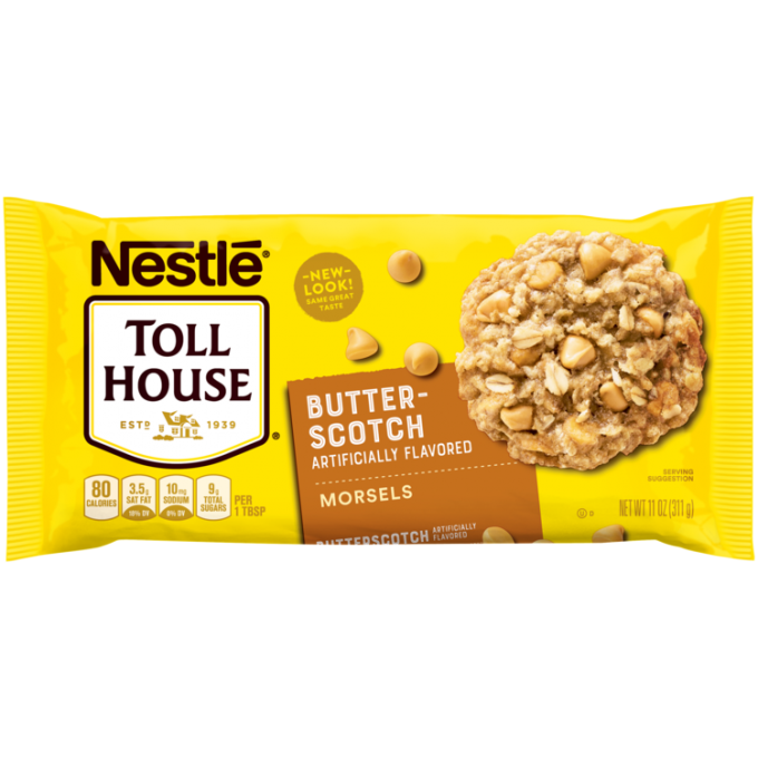 A yellow package of semi-sweet chocolate morsels with an orange label beside the NESTLÉ® TOLL HOUSE® logo and a butterscotch morsel and oat cookie.