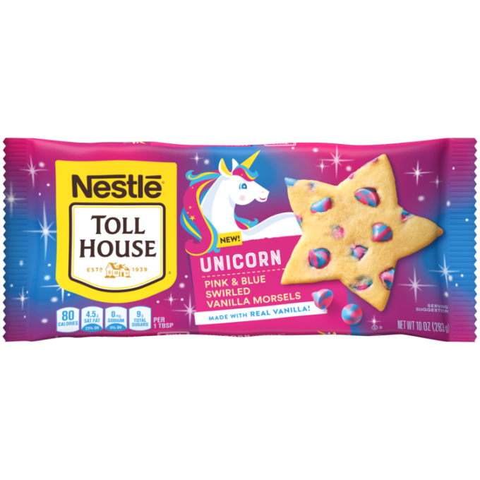 A pink, purple, and blue sparkly package of unicorn pink and blue swirled morsels with a cartoon unicorn beside the NESTLÉ® TOLL HOUSE® logo and a star shaped cookie with unicorn morsels.