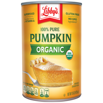 Front view photograph of an orange and yellow can of Libby's 100% Pure Pumpkin Organic. It has the Libby's name and red and white logo above the product name in shown green and a slice of pumpkin pie on a silver serving spatula.