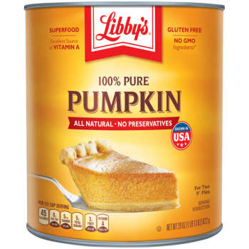 Front view photograph of an orange and yellow can of Libby's 100% Pure Pumpkin 29 oz. It has the Libby's name and red and white logo above the product name and a slice of pumpkin pie on a silver serving spatula.