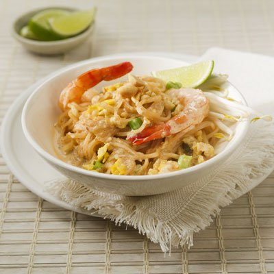 At Home Pad Thai with Creamy Peanut Sauce