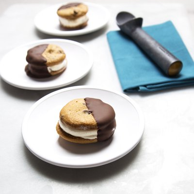 Chocolate Dipped Peanut Butter Ice Cream Sandwiches